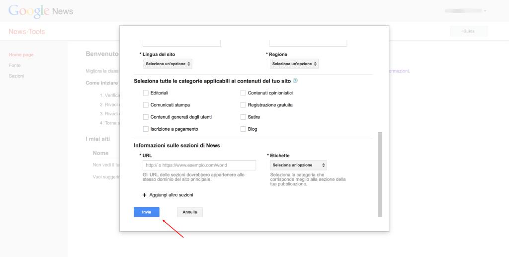 Per iscrivere il tuo sito a Google News è importante segnalare correttamente la categoria di appartenenza dei tuoi contenuti